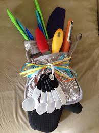 kitchen gadget gift ideas utensils and kitchen gadgets in a potholder and oven mitt for a