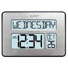 Digital Atomic Desk Clock La Crosse Technology 513 1419bl Int Backlight Atomic Full Calendar