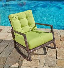 Thick Patio Furniture Cushions Amazon Com Suncrown Outdoor Furniture Lime Green Patio Rocking