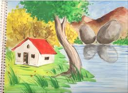 nature drawing color easy for kids drawing artistic