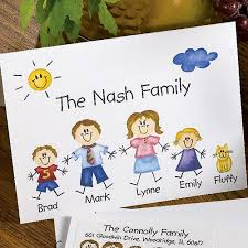personalized family of characters note cards and envelopes