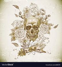 skull with roses day of the dead royalty free vector image