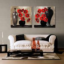 2 piece canvas wall art Abstract paintings black and red wall