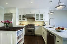 White Kitchen Cabinets With Glass Doors Kitchen Excellent White Kitchen Decoration Using White Wood Glass