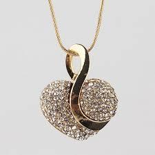 chain necklace heart images Online shop big promotion new gold color heart clear austrian jpg