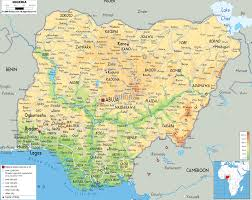 Physical Map Of The United States by Physical Map Of Nigeria Ezilon Maps
