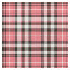 coral pink black and white girly plaid fabric zazzle