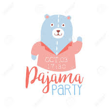 Party Invitation Card Girly Pajama Party Invitation Card Template With Teddy Bear