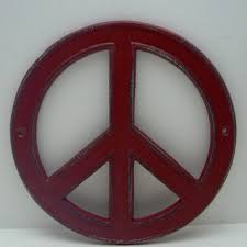 sign decor peace sign aqua light turquoise cast iron from tamaras treasure