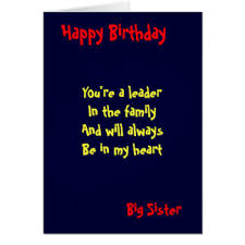 big sister birthday cards greeting u0026 photo cards zazzle