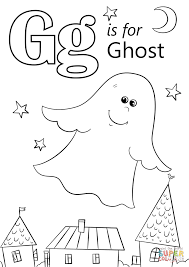 letter g is for ghost coloring page free printable coloring pages