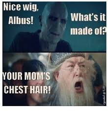 Your Moms Chest Hair Meme - nice wig albus your mom s chest hair what s it made of dank meme