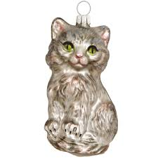 gray cat glass ornament animal animal birds flowers insects