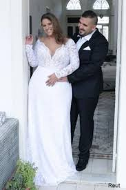 sleeve lace plus size wedding dress reut studio levana plus size wedding dress sleeve lace