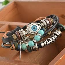 eye charm bracelet images Spiritual eye multilayer leather bracelet adjustable and unisex jpg