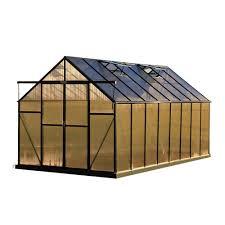 Palram Hybrid Greenhouse Palram Balance 8 Ft X 16 Ft Green Polycarbonate Greenhouse