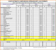 10 estimate spreadsheet template excel spreadsheets group
