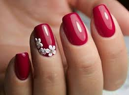 red nails with white flowers nails pinterest red nails