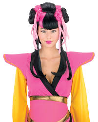 couture geisha wig pink black halloween costume accessories