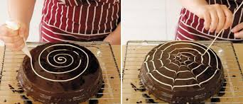 easy fall cake recipe cure glaze black white chocolate spider web
