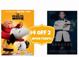 fandango 4 off 2 movie tickets to spectre 007 or the peanuts movie