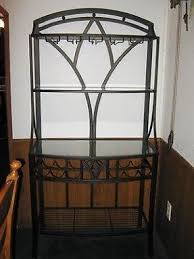 Bakers Rack With Doors Wrought Iron Bakers Rack With Wine Rack Foter