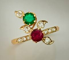 ruby emerald rings images Art nouveau ruby emerald diamond ring antique jewelry vintage jpg