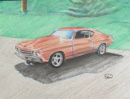cars drawings 1969 chevelle colored pencil drawing 8 u2033x10 u2033 u2013 andrew horvath