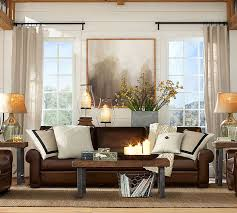 Decorating With A Brown Leather Sofa Turner Roll Arm Leather Sleeper Sofa Pottery Barn