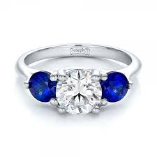 sapphire and engagement rings custom three and sapphire engagement ring 100483