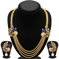gold plate necklace images Sukkhi gleaming peacock four strings gold plated necklace set jpg