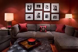 interesting red black living room decor white rugs wall art framed