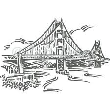 francisco golden gate bridge woodcut style illustration