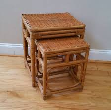 vintage rattan nesting tables vintage bamboo rattan wicker style nesting tables plant stands set