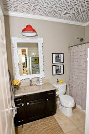 Cabin Bathroom Mirrors by Chic Ruffle Shower Curtainin Bathroom Eclectic With Gorgeous Cabin