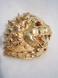 gold foo dogs brooches cydneys antiques vintage european imports