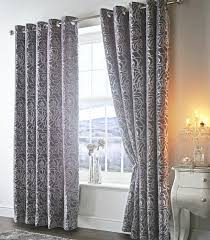 Steel Grey Curtains Design Crushed Velvet Steel Grey Ring Top Ready Made Curtains