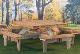 Unique Square Picnic Table  For Your Home Design Ideas With - Picnic tables designs