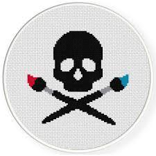 artist skull cross stitch pattern daily cross stitch