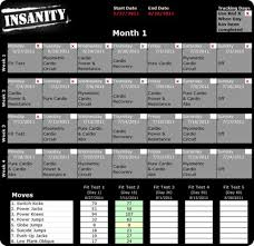 insanity workout schedule fit test pdf goddess workout