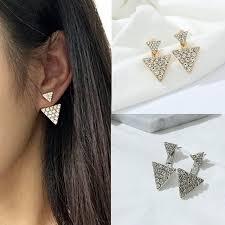 big stud earrings accessories earring triangle rhinestone bling stud