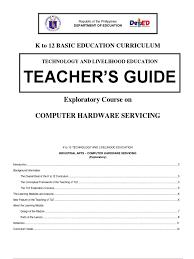 k to 12 pc hardware servicing teacher u0027s guide curriculum