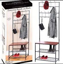 Entryway Storage Bench With Coat Rack Metal Entryway Bench Coat Rack Seat Hat Shoe Organizer Shelf