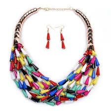 chunky necklace set images Wholesale fashion bright multi color beaded multi layer earrings jpg