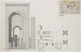 khulafa central mosque entrance portal elevation area h plan and