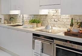 white brick for unique kitchen backsplash inside scandinavian