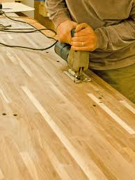 How To Cut Wood Laminate Flooring Do It Yourself Butcher Block Kitchen Countertop Hgtv