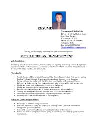 Resumes For Electricians Mohammad Rafiuddin Resume 1