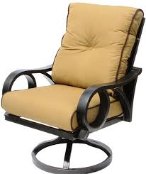 channel cast aluminum outdoor patio swivel rocker chair with