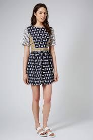 blue jacquard dress topshop topshop petite split front dress in